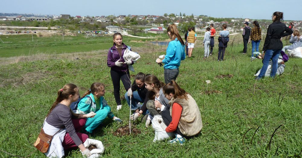 Tree-caring event in Bubuieci, April 29, 2017